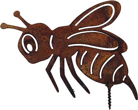 Edelrost Biene mit Schraube 13 x 10 cm für Holz Insekt Gartendekoration