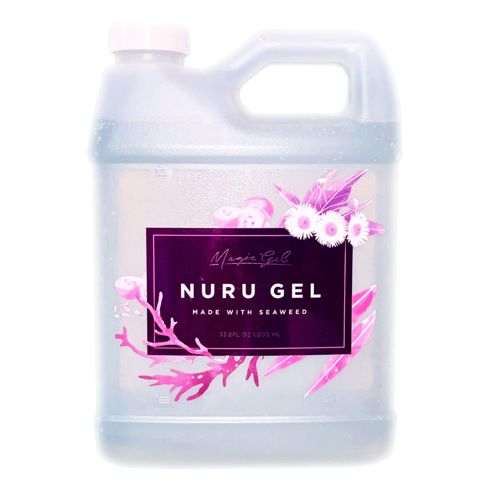 Magic Gel Nuru Massage Therapy Gel   Naturally Stain, Flavor and Fragrance Free   Ideal for Massage, Sore Muscles, Dry Skin   33.8 Oz