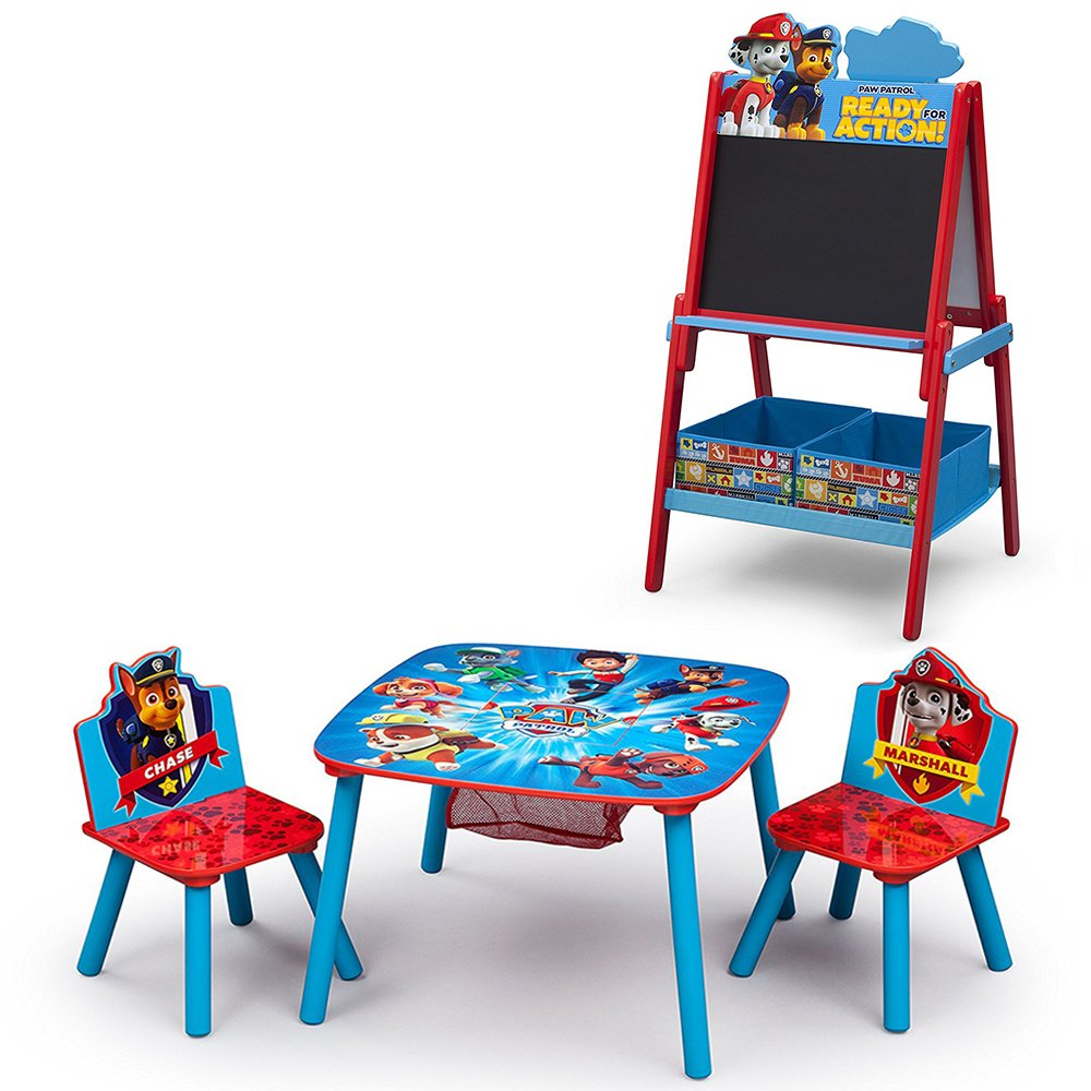 Nick Jr. PAW Patrol Table and Chair Set w/ Wooden Double Sided Activity Easel