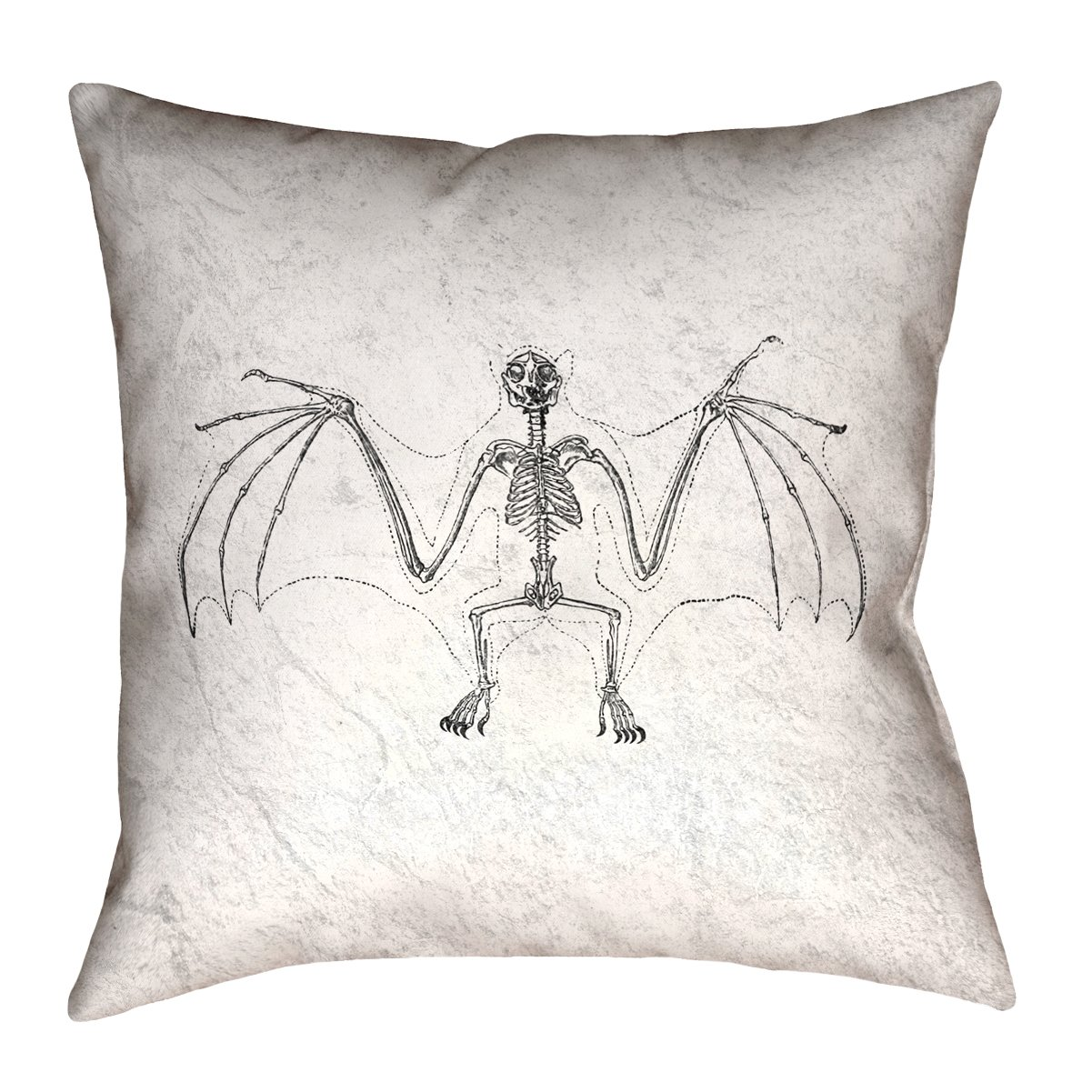 ArtVerse Katelyn Smith 28' x 28' Floor Double Sided Print with Concealed Zipper & Insert Vintage Bat Skeleton Pillow SMI141F2828L