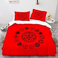 LKFFHAVD Naruto Sharingan Juego de ropa de cama – Juego de funda nórdica con funda de almohada, 100% microfibra con…