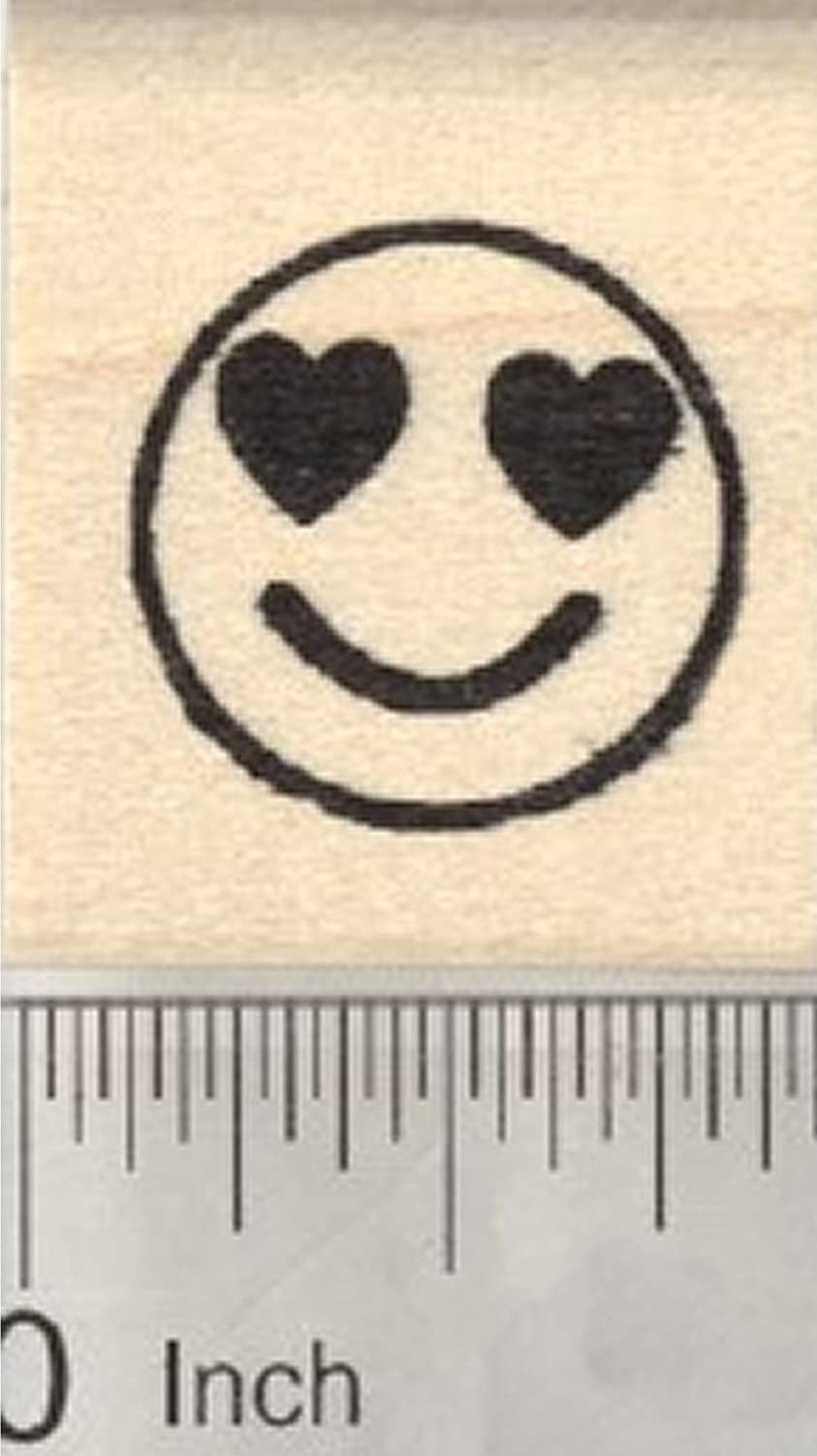 Smiling Face Rubber Stamp with Heart-Shaped Eyes .75 inch Emoji