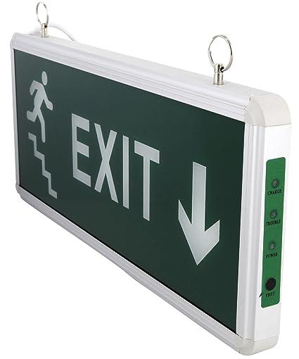 LED Cartel - Exit Flecha Down - Batería ext - 230 V - ambos ...