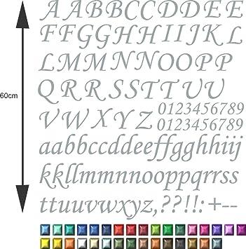 XL SET Selbstklebende outdoor Buchstaben in Silber ABC und Ziffern ...