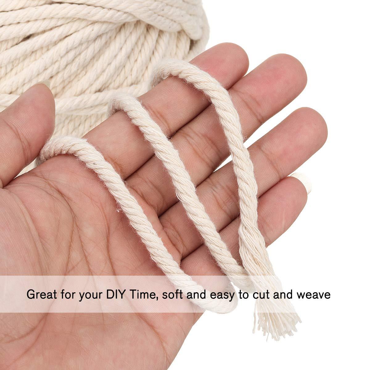 Jeteven Baumwollgarn Baumwollkordel Makramee Garn für DIY Handwerk Basteln Wand Aufhängung Pflanze Aufhänger (5mm x 60m)