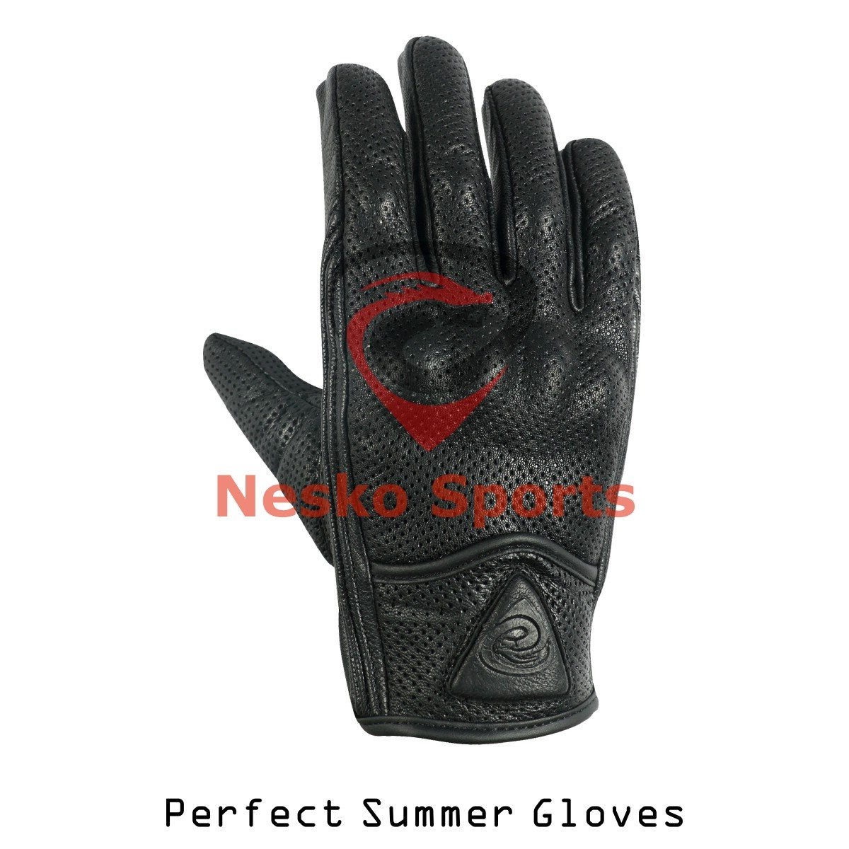 Men's Perfect Summer Motorcycle Perforated Black Leather Gloves (XL)