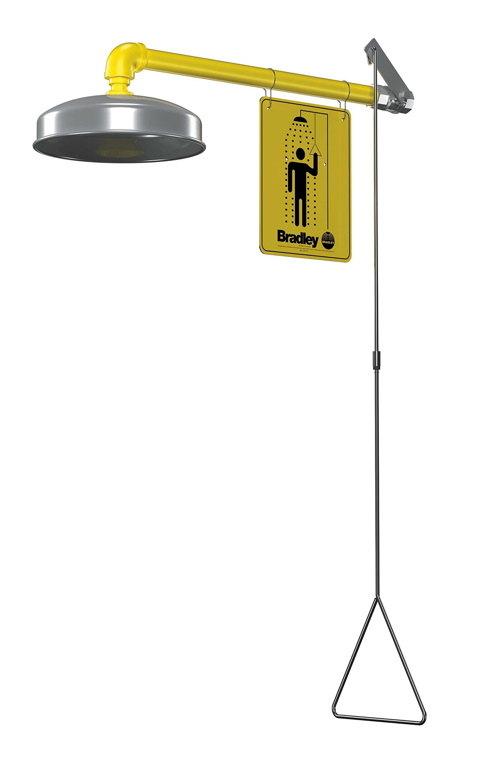Bradley S19-120ABF Galvanized Steel 1 Spray Head Barrier Free Safety Shower with Stainless Steel Showerhead, Wall Mount, 20 GPM Water Flow, 9'' Width x 45'' Height x 24'' Depth