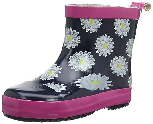 Playshoes Kinder Halbschaft-Gummistiefel aus Naturkautschuk, trendige Unisex Regenstiefel mit Reflektoren, mit Blumen-Motiv