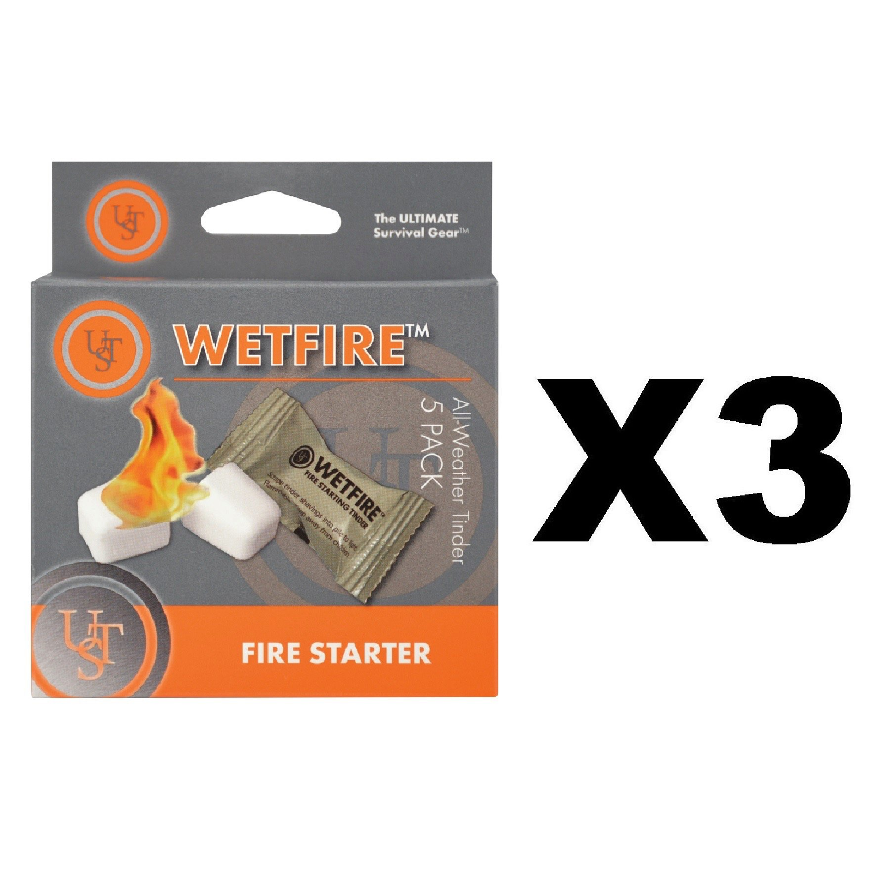 Ultimate Survival Technologies WetFire All-Weather Fire Starter 3-Pack of 5