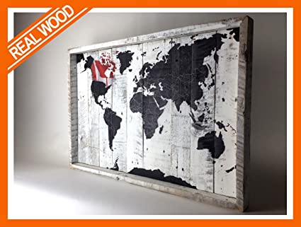 Amazon canada world map decor on reclaimed wood canvas 18wx12 canada world map decor on reclaimed wood canvas 18wx125h gumiabroncs Image collections