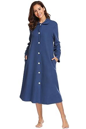 d548d71d4b Ouyilu Women Long Sleeve Nightdress Plush Dressing Gown Bath Button Sleep  Shirt Female Casual Homewear Bathrobe