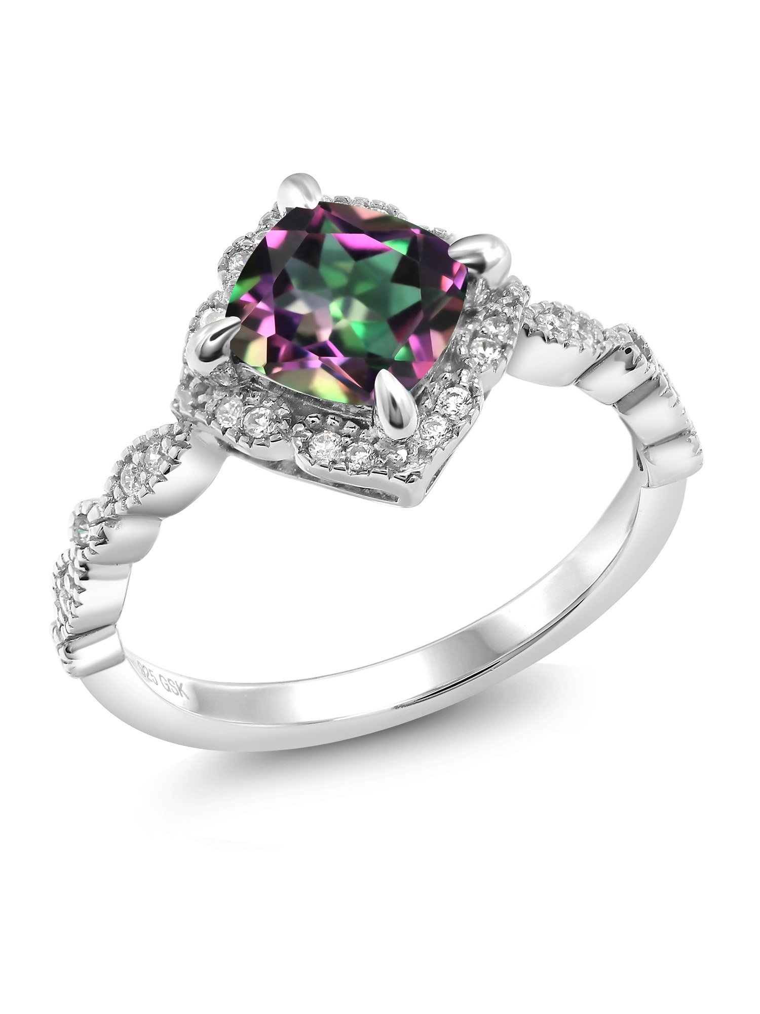 Green Mystic Topaz 925 Platinum Plated Sterling Silver Women's Ring 2.04 Ct Cushion Cut (Size 6)