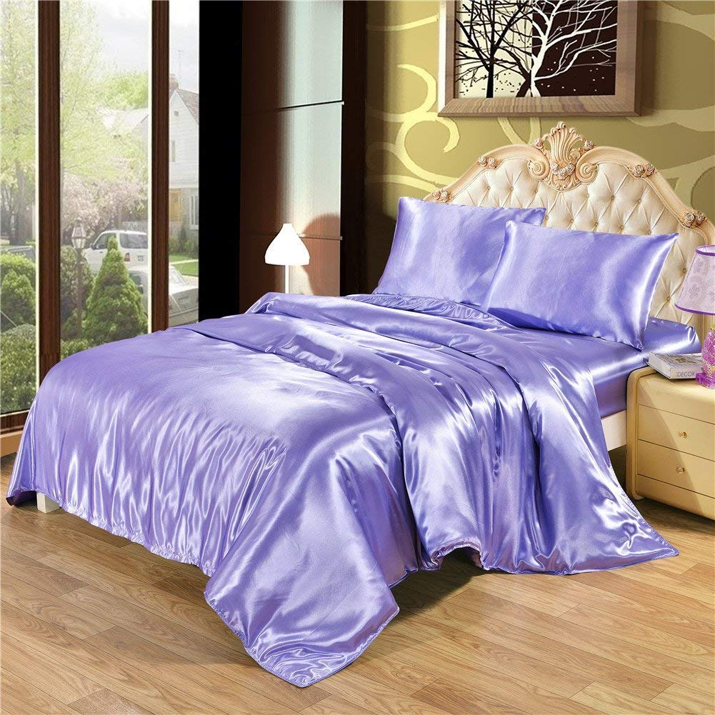 DreamX Luxury Silk Satin Pillowcase for Hair and Skin 2 Pack- Queen Size(20x30)- Purple