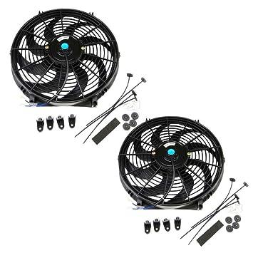 amazon com set of 2 universal 14 inch 12 volt slim fan push pull rh amazon com
