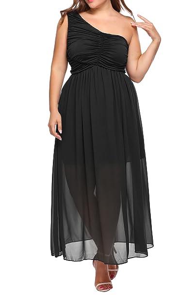 Involand Womens Plus Size One Shoulder Midi Wedding Bridesmaid Dress