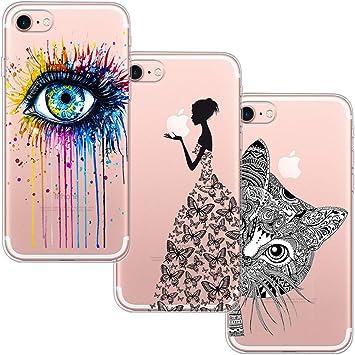 3 Pack] Funda Para iPhone 7, Funda iPhone 8, Funda de Silicona Suave Blossom01 Ultra Suave Funda de Silicona Para TPU con Dibujo Animado Lindo Para iPhone 7 / 8 de Apple: Amazon.es: Electrónica