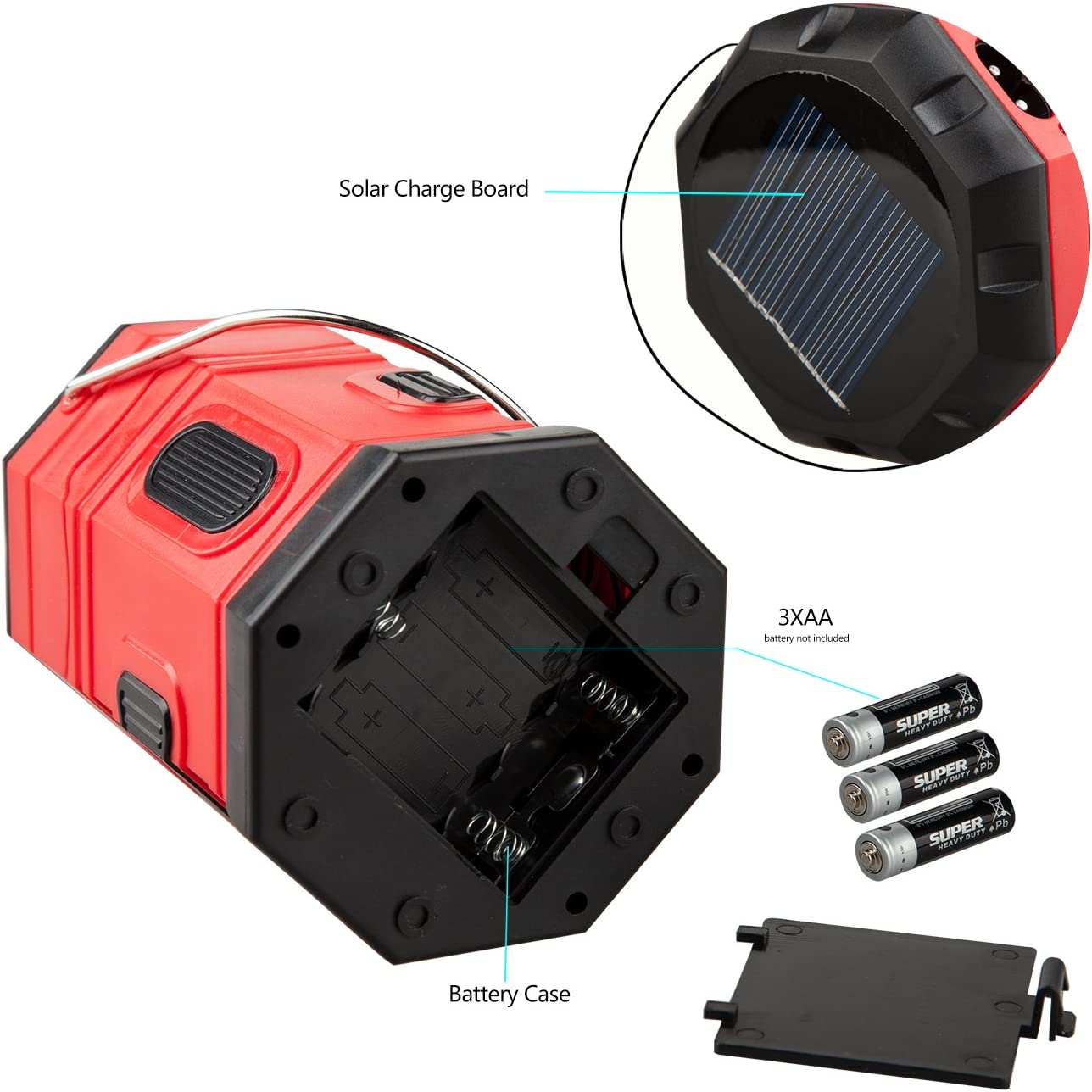 TANSOREN 4 Pack Portable LED Camping Lantern Solar USB Rechargeable or 3 AA