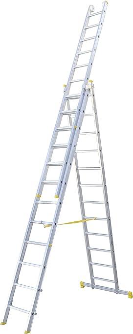 Escalera transformable de tres tramos, permite su uso como escalera extensible y en tijera. Según UNE-EN 131. (3x12 peldaños): Amazon.es: Bricolaje y herramientas