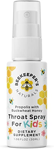 BEEKEEPER'S NATURALS Propolis Throat Spray for Kids - 95% Bee Propolis Extract - Natural Immune Support & Sore Throat Relief