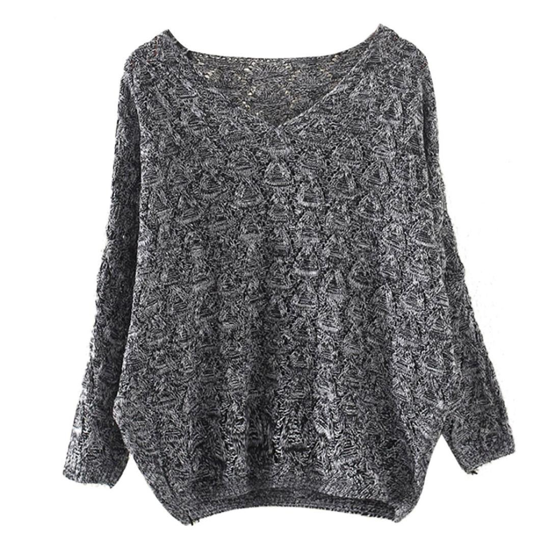 YANG-YI Hot, Fashion Women Hollow Out Bat Long Sleeve Loose V Collar Sweater Free Size)