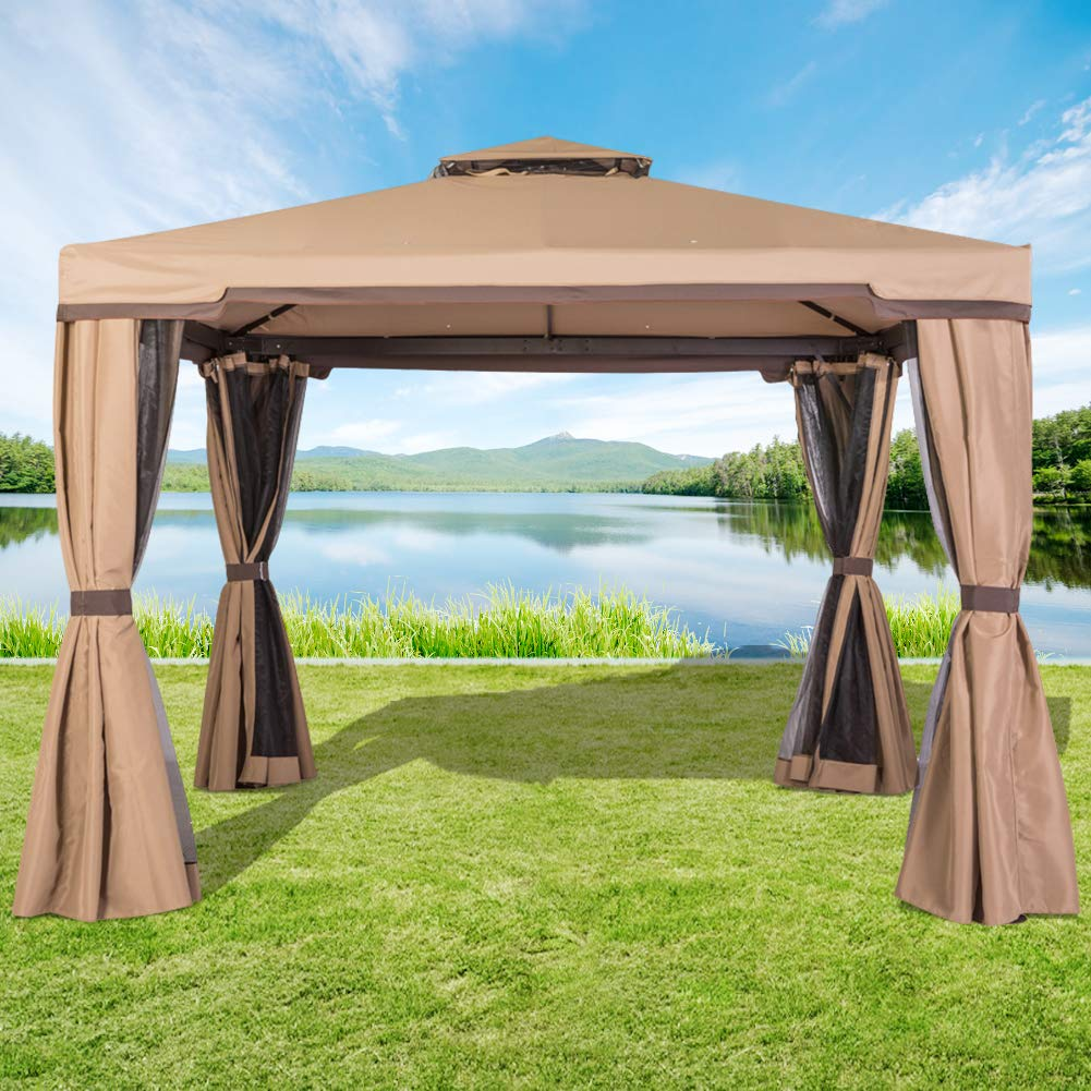 Incbruce Outdoor Patio 10x10 Gazebo, Vented Polyester Fabric Steel Canopy Tent with Mosquito Netting - Brown