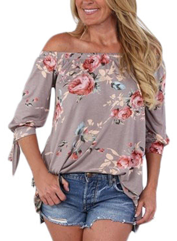 AlvaQ Women Chiffon Summer Fashion 3 4 Sleeve Tunic Sexy Casual Floral Party Tops Juniors T Shirt Plus Size Khaki