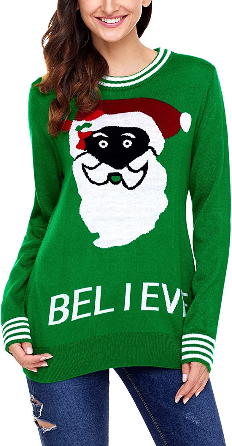 Elapsy Womens Christmas Knit Pullover Sweater Reindeer HO HO HO Patterns Tops
