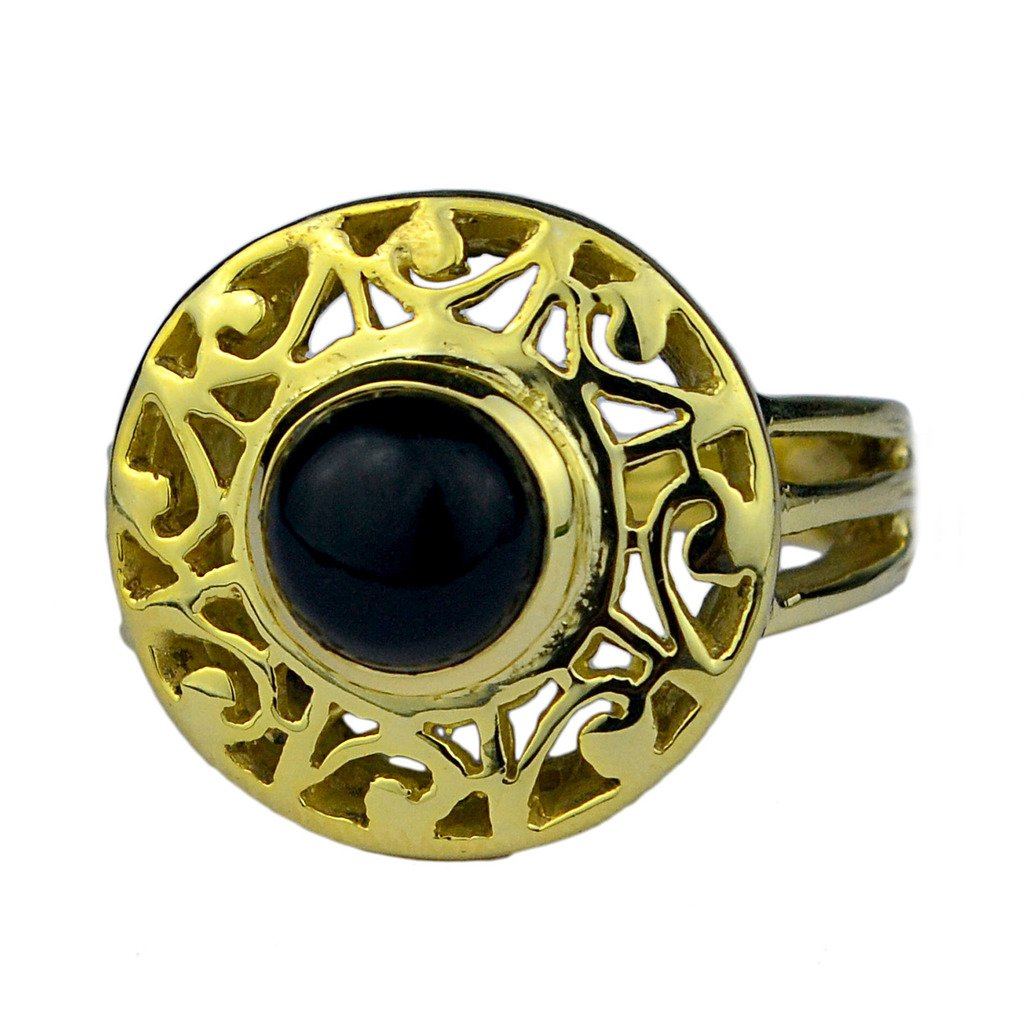 Crystalcraftindia Black Onyx gemstone Brass Gold Plated Ring Size 8 US 7.75 g