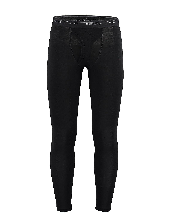 Icebreaker Body Fit Basics Lightweight Men's Everyday Merino Leggings with Fly - Black, Large 104510