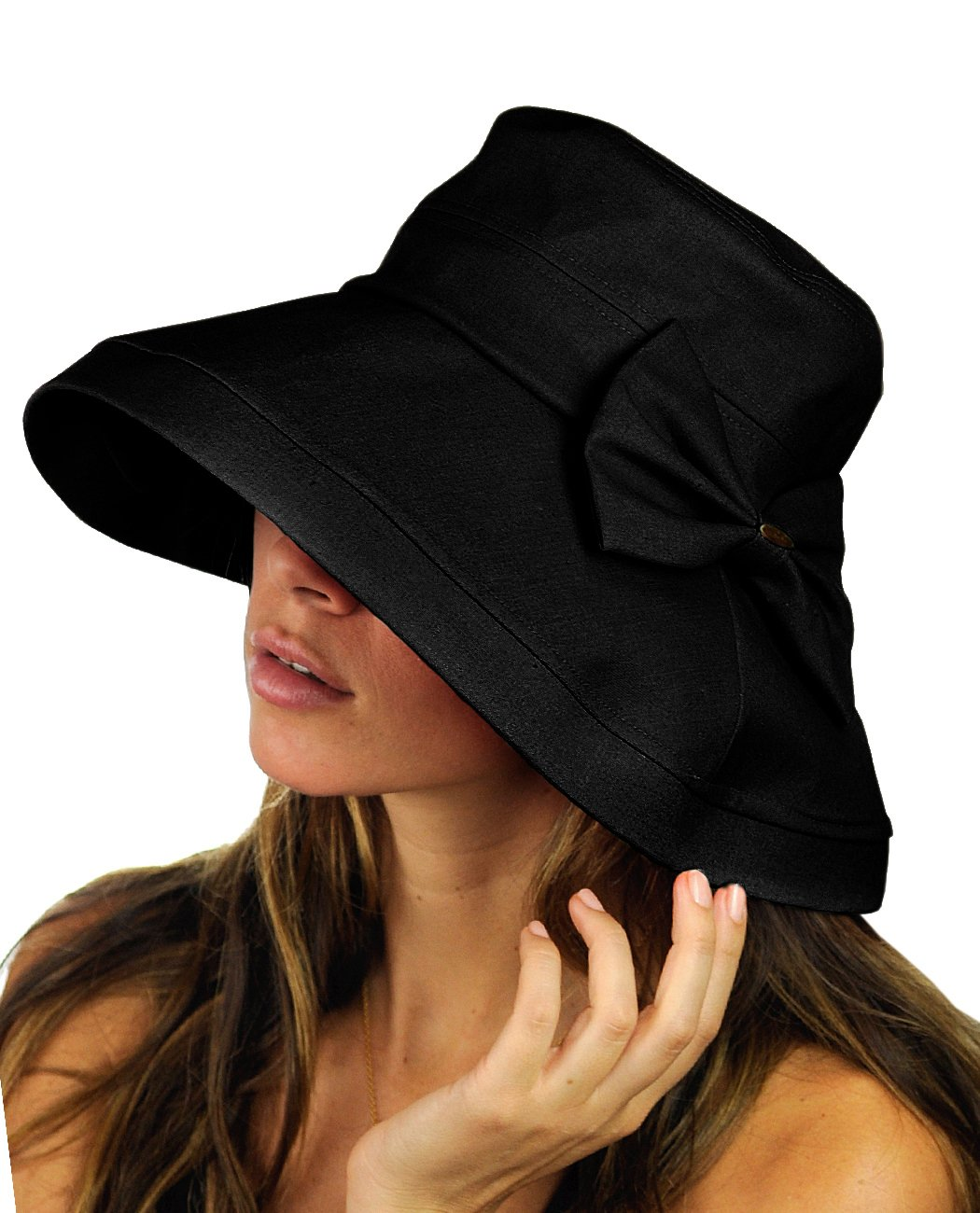 5253bcb6 NYFASHION101 Women's Summer Packable Bow Accent Foldable Brim Beach Sun Hat  product image