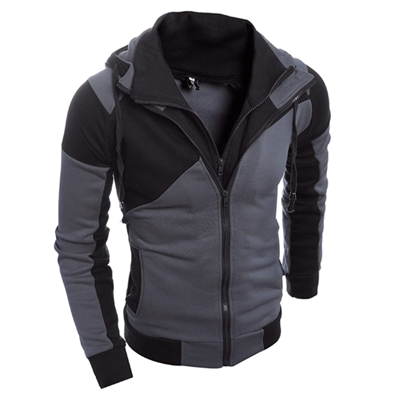 Allonly Mens Fashion Color Block Double Zip-up Hoodie Windbreaker Jacket