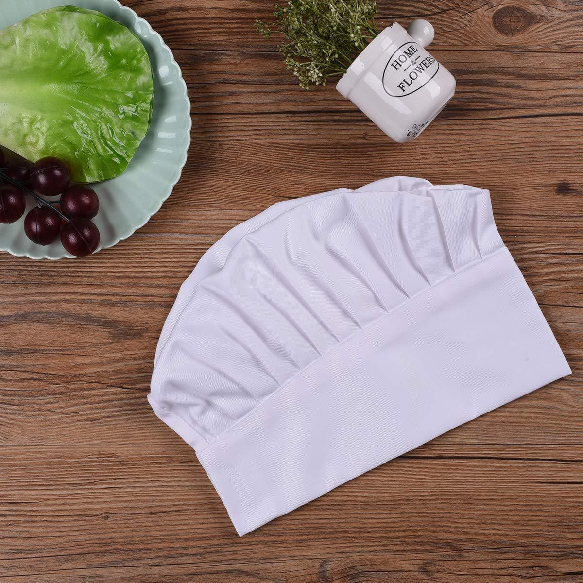 Chef Ulife Mall Cappelli da Cuoco Adulto Regolabile Elastico Cappelli da Chef Professionale Accessori da Cucina per Pasticcere Bianco Unisex
