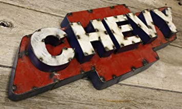 Attirant Recycled Tin Metal CHEVY Bow Tie Sign Gas Oil Garage Man Cave Home Decor