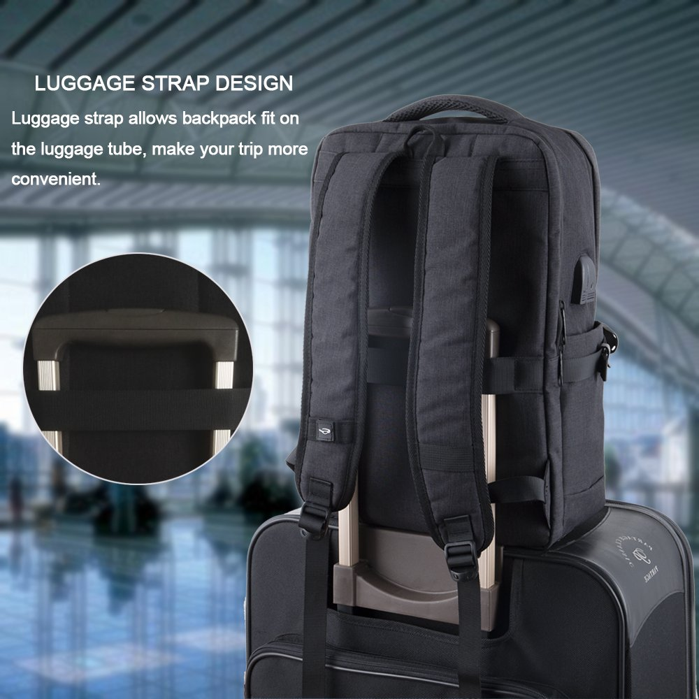 Laptop Backpack, Water Resistant College Students School Bag Travel Computer Backpack for Men Women with USB Charging Port and Headphone Port, Fits Business Laptops Notebooks up to 15.6 Inches by Yomuder (Image #6)