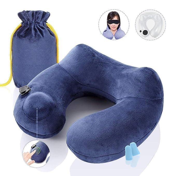 Soft Almohada de viaje hinchable Conjunto de peso ligero de almohada U de terciopelo lavable, almohada para cuello cabeza, mascara, tapones de oidos y ...