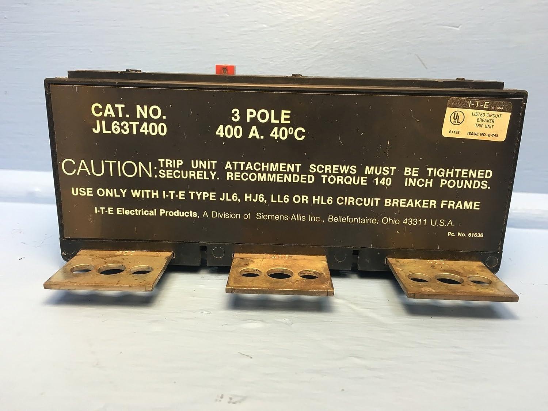 Siemens I T E Jl63t400 400a Trip Unit Jl6 Ll6 Hj6 Circuit Breaker Square D Qo120gficp 20amp 1pole Gfci Ite No Label Industrial Scientific
