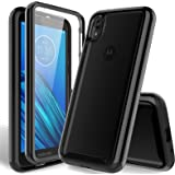 HATOSHI Motorola Moto E6 Case with Built-in Screen Protector, Heavy Duty Protection Crystal Clear Back Shockproof Rubber Bump