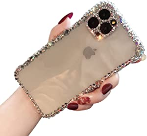 MOSEZA for iPhone 12 Pro Max Case Luxury Glitter Bling Silicone Rhinestone Cute Protective Phone Case for Women Girl for iPhone 12 Pro Max 6.7 inch