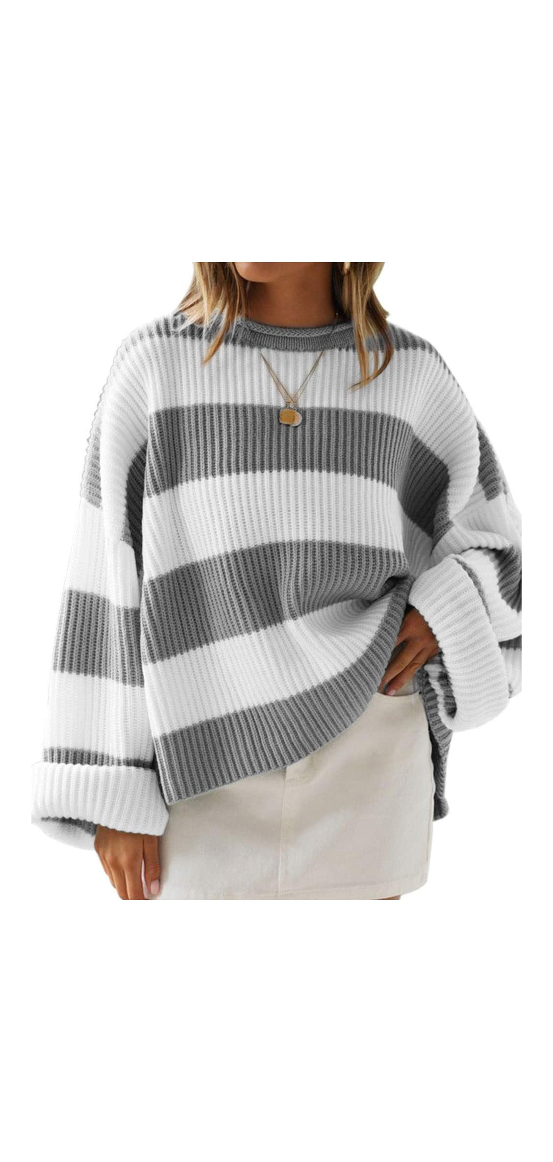 Women's Color Block Striped Oversized Sweaters Long Sleeve