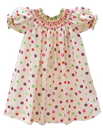 a5fd5dca563b Amazon.com: Carouselwear Girls Floral Easter Spring Smocked Bishop ...