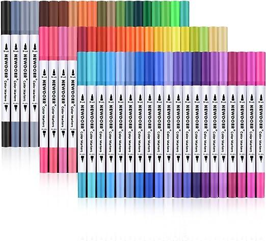 Newdoer - Rotuladores artísticos de doble punta, incluye punta de 2 mm y punta fina de 0,4 mm para dibujar, esbozar, pintar y crear efecto de acuarela, 60-pack: Amazon.es: Hogar
