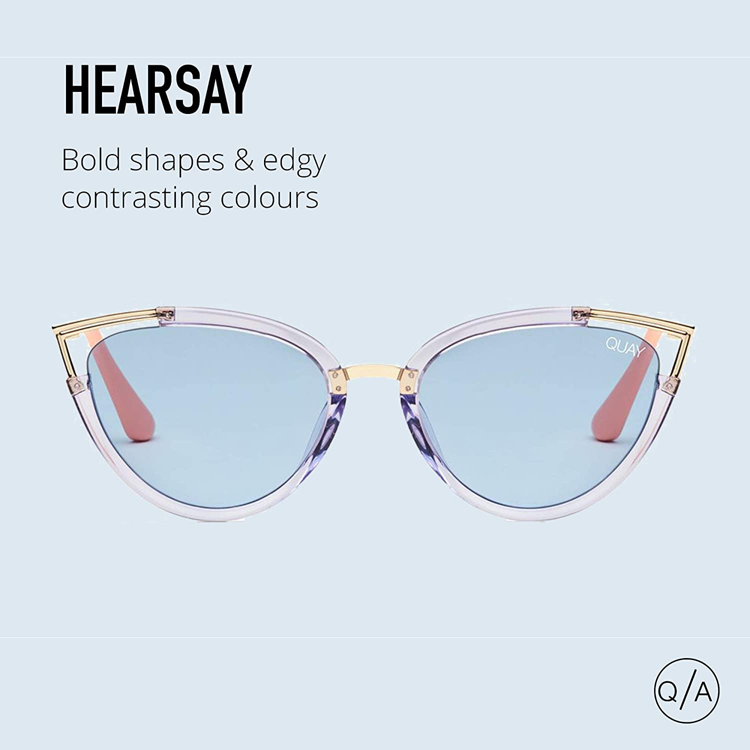 088490462e Amazon.com  Quay Australia HEARSAY Women s Sunglasses Cateye with Metal  Accent - Blue Blue  Clothing