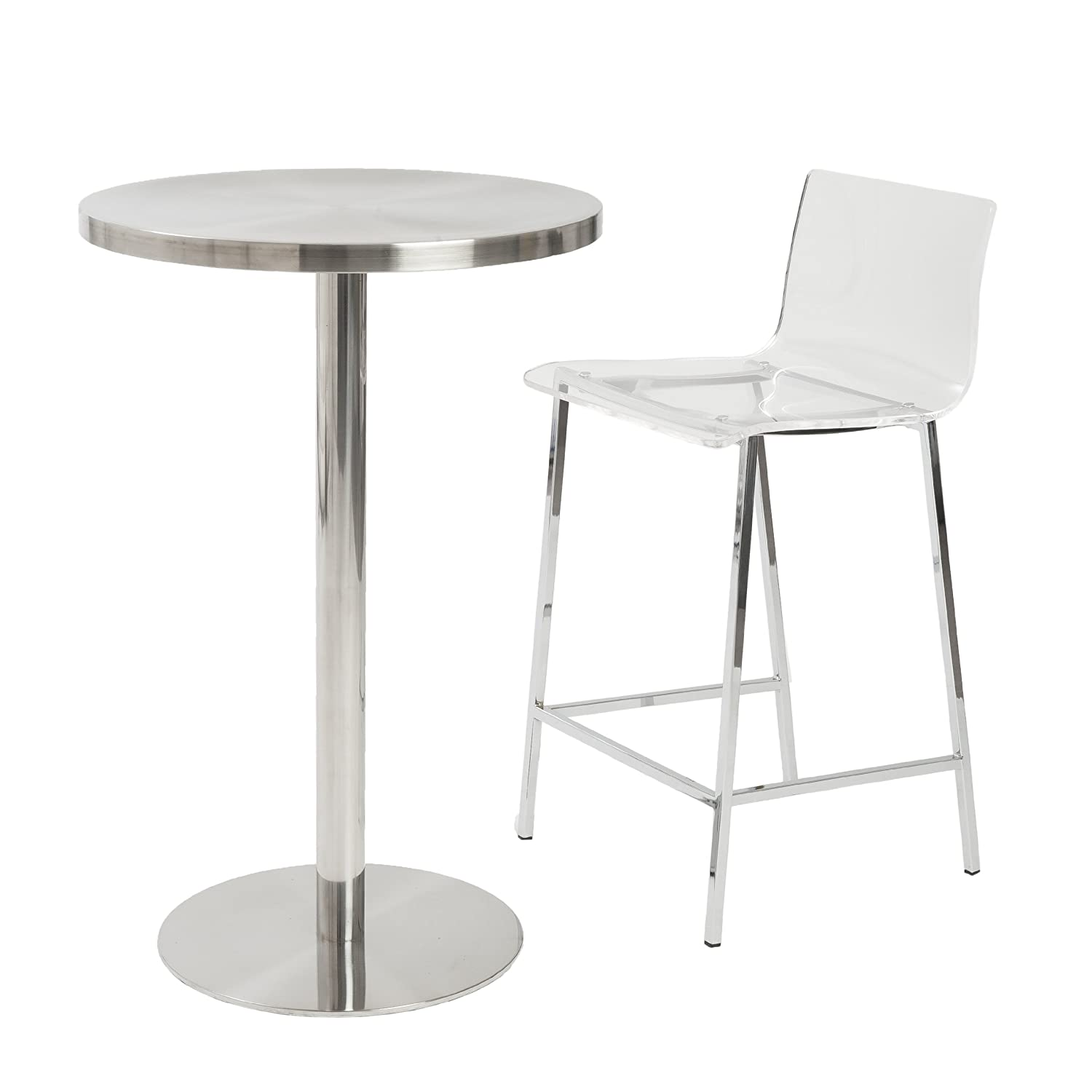 Acrylic Counter Height Stools Part - 18: Amazon.com: Euro Style Chloe Clear Acrylic Counter Height Stool With  Chromed Base, Set Of 2: Kitchen U0026 Dining