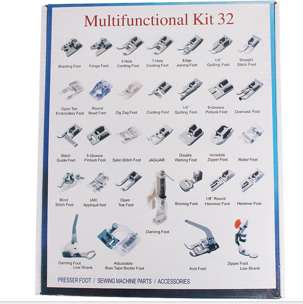 New Home Janome Toyata Singer Elna New Home 32pcs Sewing Machine Presser Foot Set for Brother Babylock Necchi Simplicity Elna Kenmore