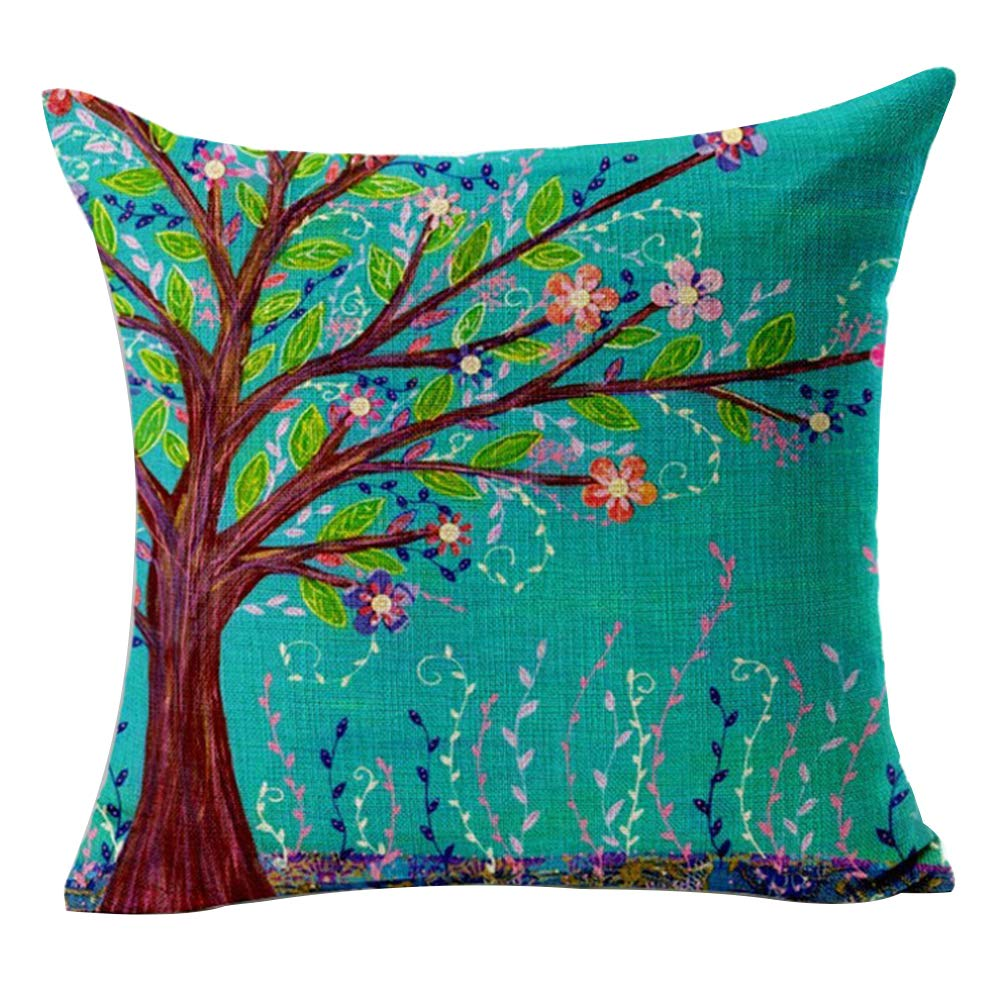 TREESTAR 1PCS Albero della Vita Federa Cozy Lino cuscino Fashion Home Decoration Square Pillow case indoor e outdoor Hold Pillow case