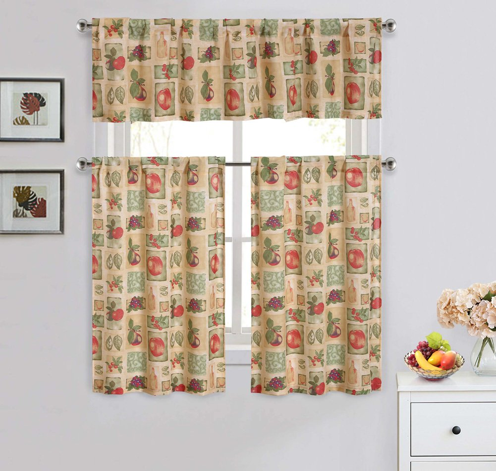 Fruits 3-Piece Kitchen Curtain Set, Bold Colors, Design of Healthy Fruits, Great For Adding An Accent Piece To Your Decor, Valance (57x14 Inches) Tiers (28x36 Inches)