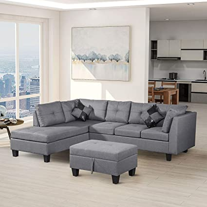 Modern Sectional Sofa Set with Chaise Lounge for Living Room L Shape Home  Furniture with Ottoman (Grey)