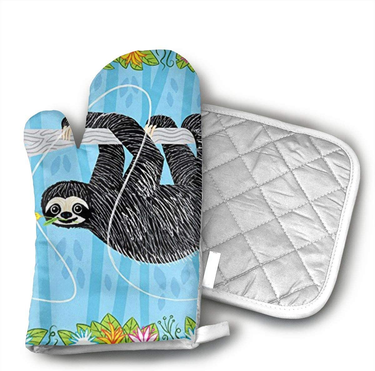 UYRHFS The Sloth and The Hummingbird Oven Mitts and Pot Holder Kitchen Set with, Heat Resistant, Oven Gloves and Pot Holders 2pcs Set for BBQ Cooking Baking