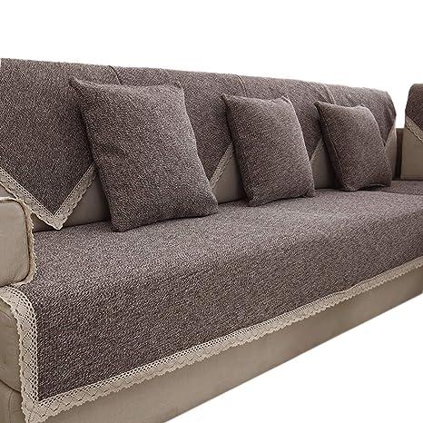 HiiGlife Fundas de sofá de Lino y algodón Cobertura Completa ...