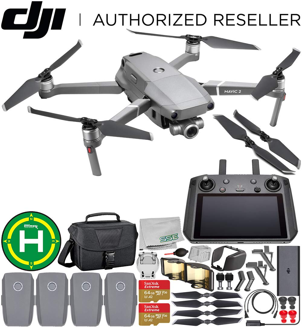 DJI Mavic 2 Zoom Drone Quadcopter with 24-48mm Optical Zoom Camera with Smart Controller Must-Have 4-Battery Bundle 2